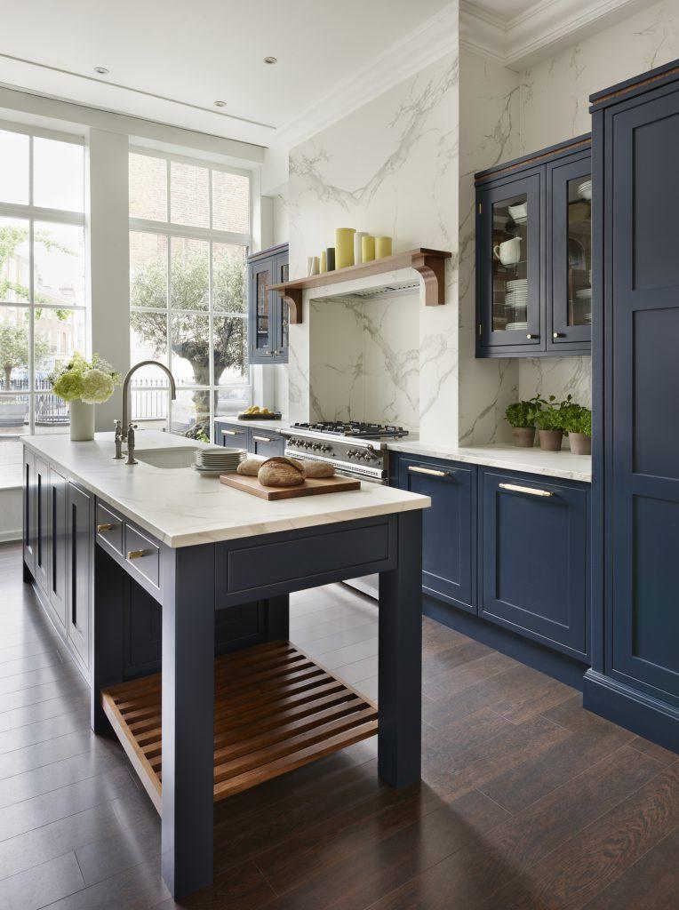 Eridge Road, Crowborough Navy blue Traditional kitchen side view